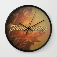 thanksgiving Wall Clocks featuring Thanksgiving   by SeraphimChris