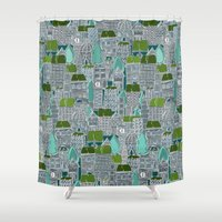 tennis Shower Curtains featuring rooftop tennis by Sharon Turner