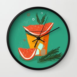 summer cocktails with grapefruit and juice, and ice Wall Clock