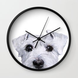 Schnauzer White Dog original painting print Wall Clock