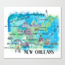 New Orleans Louisiana Favorite Travel Map with Touristic Highlights in colorful retro print Canvas Print