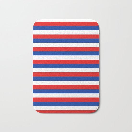 Blue White Red Stripes Bath Mat By Tony4urban Society6