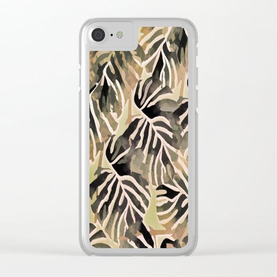 Vintage Leaf Abstract Clear iPhone Case