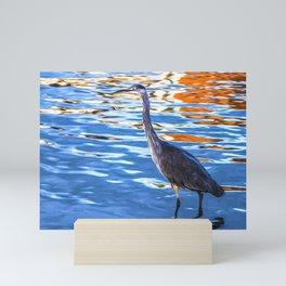 Crane on the River Shannon Mini Art Print
