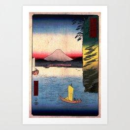 Hiroshige - 36 Views of Mount Fuji (1858) - 16: Cherry Blossoms at Honmoku in Musashi Province Art Print