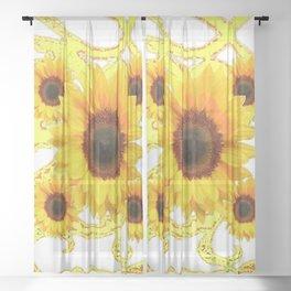 MODERN SUNFLOWERS GOLDEN-GREEN  ABSTRACT ART Sheer Curtain