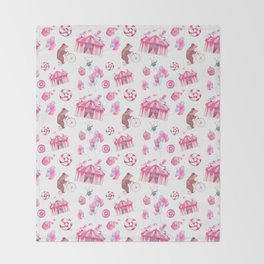 Sweet girly pink watercolor bear funfair pattern Throw Blanket