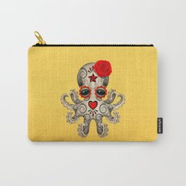 Red Day of the Dead Sugar Skull Baby Octopus Carry-All Pouch