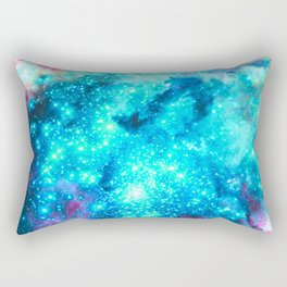 Turquoise Fuchsia Sparkle Stars BRIGHT Rectangular Pillow