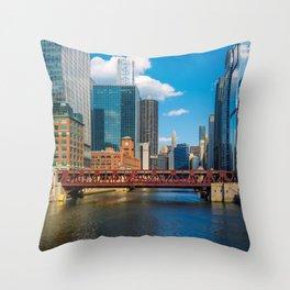View of Chicago River Skyline Wells Street Bridge Windy City Throw Pillow