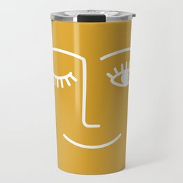 wink / mustard Travel Mug