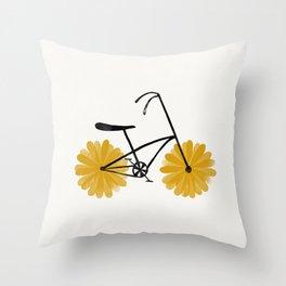 Flower Powered Bike Yellow Daisy Throw Pillow