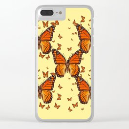 ORANGE MONARCH BUTTERFLIES CREAM  MODERN ART MONTAGE FOR the Clear iPhone Case