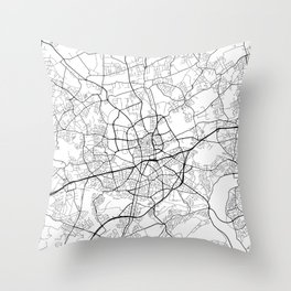 Essen Map, Germany - Black and White Throw Pillow