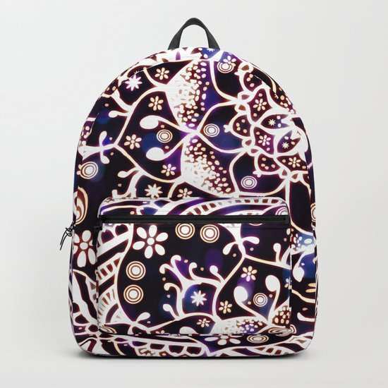 'Glowing Namaste' Blue Purple Pink White Mandala Backpack