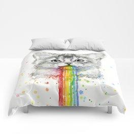 Kitten Puking Rainbows Cat Rainbow Vomit Comforters