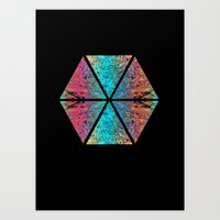 hexagon Art Prints featuring Hexagon by Meggie Wood