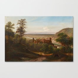 GERMAN MASTER 1st half of the 19th century , Heidelberg Castle with View of the Neckar Valley Canvas Print