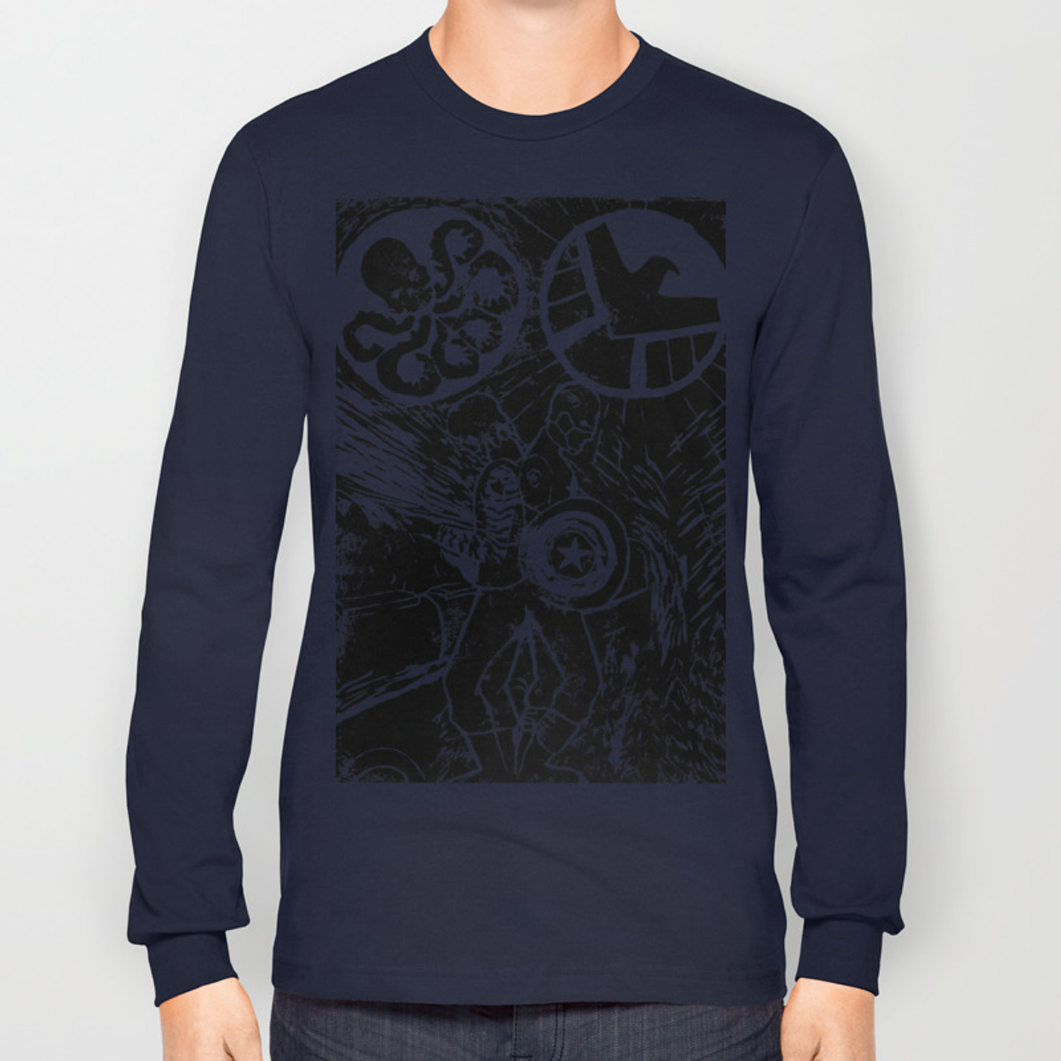 7151f30f684f Captain America:The Winter Soldier print design Long Sleeve T-shirt by  chalenmimi | Society6