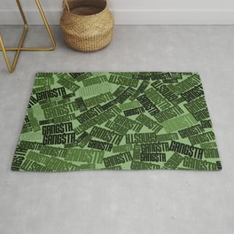 GANGSTA jungle camo / Green camouflage pattern with GANGSTA slogan Rug