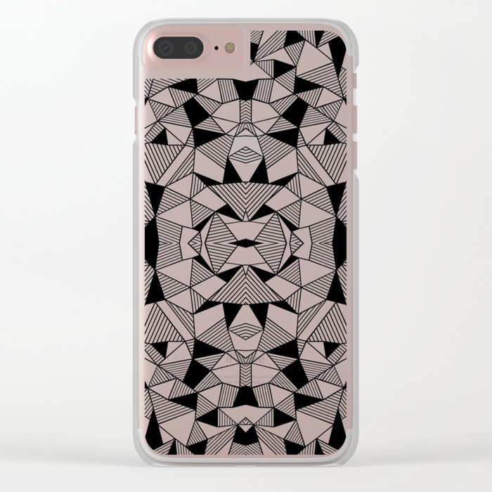 Ab Lines Tile with Black Blocks Clear iPhone Case