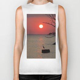 Sunset with Heron Biker Tank
