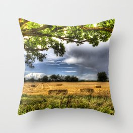 The field beyond the tree. Throw Pillow