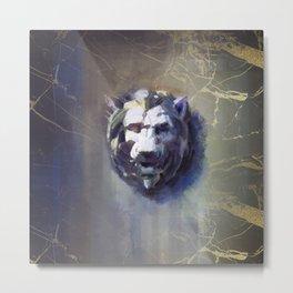 Lion head Black Marble Metal Print