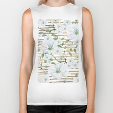 Elegant white faux gold stripes watercolor hand painted floral Biker Tank