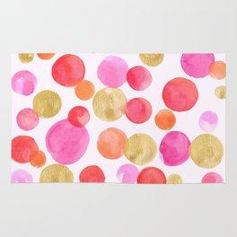 Shimmering Pink & Gold Bubbles Rug