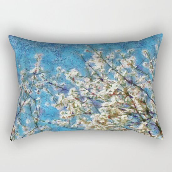 Blossom and Blue Sky In Monet Style Rectangular Pillow