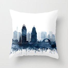 Cincinnati Skyline Blue Watercolor by Zouzounio Art Throw Pillow