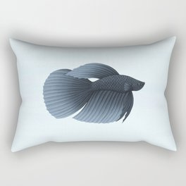 betta splendens black veiltail male Rectangular Pillow