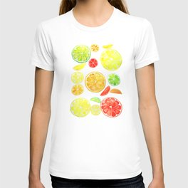colorful citrus fruit watercolor T-shirt