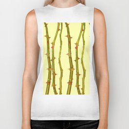 THORN BUSH CANES ABSTRACT IN YELLOW ART Biker Tank