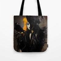 crow Tote Bags featuring Crow by Dnzsea