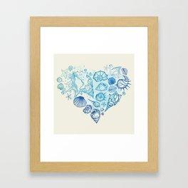 Heart of the shells. Hand drawn illustration Framed Art Print