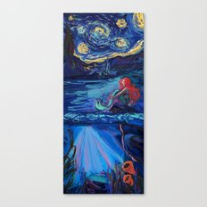 Starry Starry Night with Little Mermaid Canvas Print