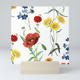 White Meadow Botanical Flowers Pattern Mini Art Print