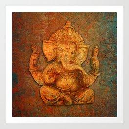 Lord Ganesh On a Distress Stone Background Art Print