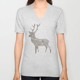 Wood Grain Stag Unisex V-Neck