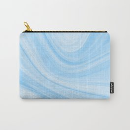 Pastel Marbled Blue & White Geode Carry-All Pouch