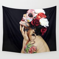 sugar skull Wall Tapestries featuring Sugar Skull by Tana Helene
