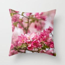 Bright Pink Crabapple Blossoms Throw Pillow