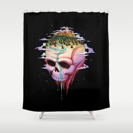 Planet Skull Shower Curtain