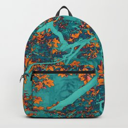 Colourful green and orange trees Backpack