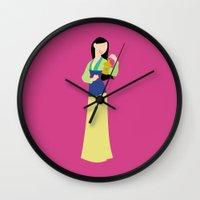 mulan Wall Clocks featuring mulan by Live It Up