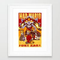 mario kart Framed Art Prints featuring Mad Mario: Fury Kart by RynoArts
