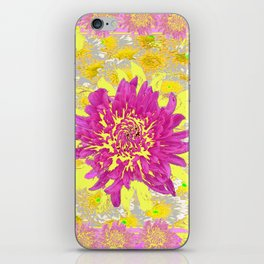 Abstracted Pink & Yellow Chrysanthemums Floral iPhone Skin