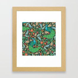 Asian-Inspired Floral Pattern With Majestic Peacocks Framed Art Print